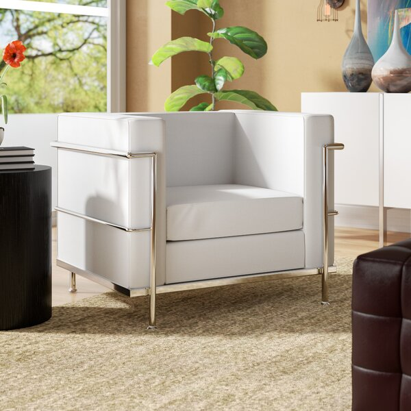 Caster Contemporary Mid-Back Lounge Chair with Encasing Frame Guest Chair by Wade Logan