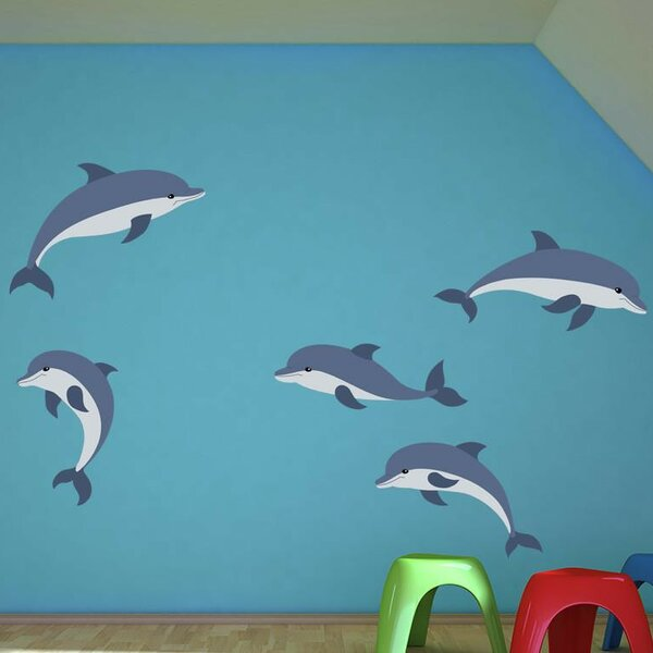 Cartoon Dolphins Set Wall Decal by Style and Apply