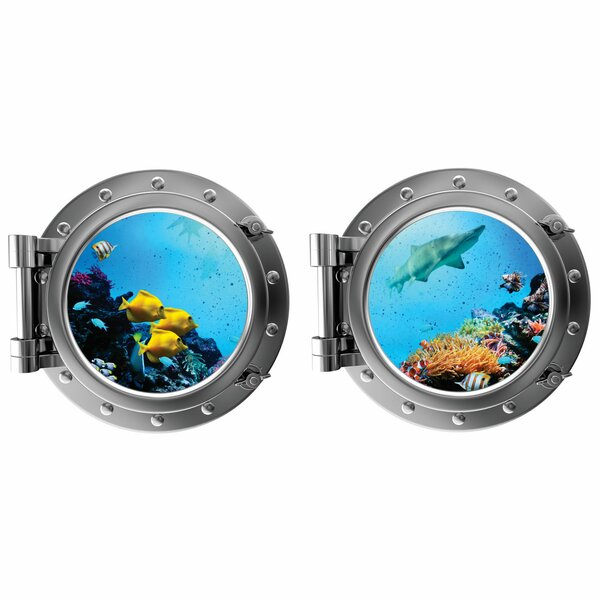 Tropical Fish and Shark with Coral Porthole Fabric Wall Decal by Decal the Walls