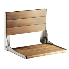 Bath Safety Fold Down Teak Seat by Home Care by Moen
