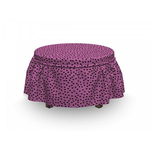 Hearts Romantic 2 Piece Box Cushion Ottoman Slipcover Set By East Urban Home