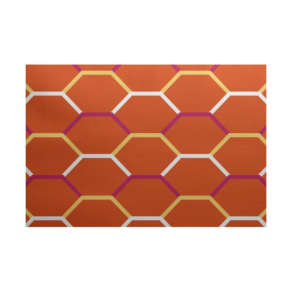 Golden Gate Geometric Orange Indoor/Outdoor Area Rug by Beachcrest Home