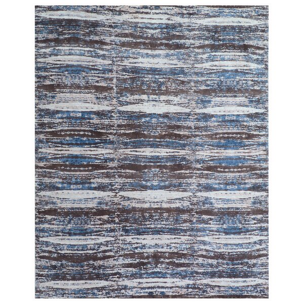 Cassina Hand-Woven Blue/Brown Area Rug by Exquisite Rugs