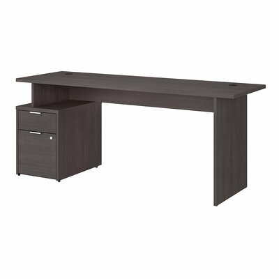 "Jamestown Desk with Hutch Bush Business Furniture Color: Storm Gray, Size: 66.1"" H x 71.02"" W x 23.66"" D"