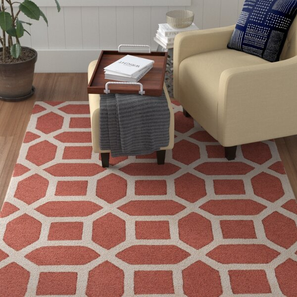 Wyble Hand-Tufted Wool Coral Area Rug by Winston Porter