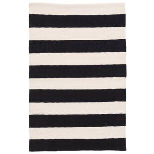 Catamaran Stripe Black Off White Indoor Outdoor Area Rug By Dash And Albert Rugs
