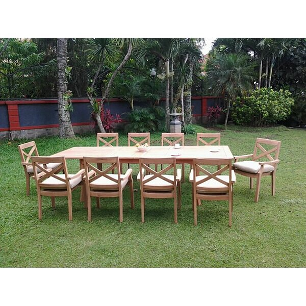 Saroyan Luxurious 11 Piece Teak Dining Set by Rosecliff Heights
