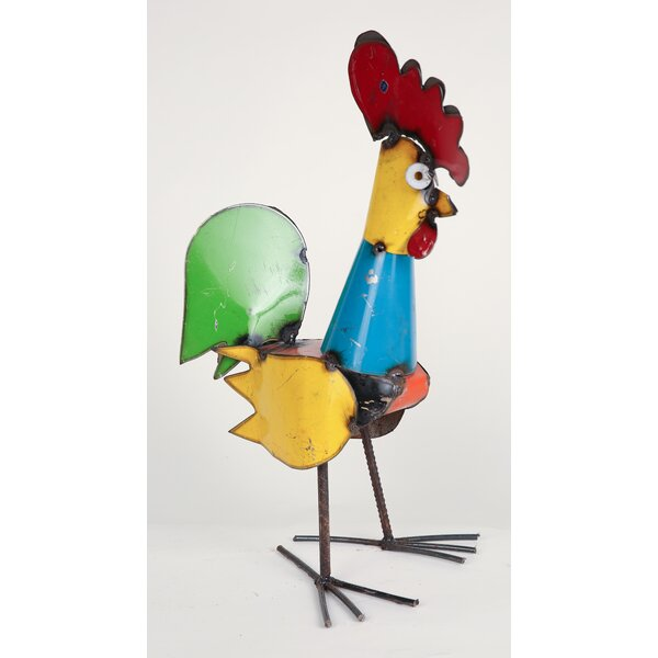 Small Recycled Metal Rooster Figurine by My Amigos Imports