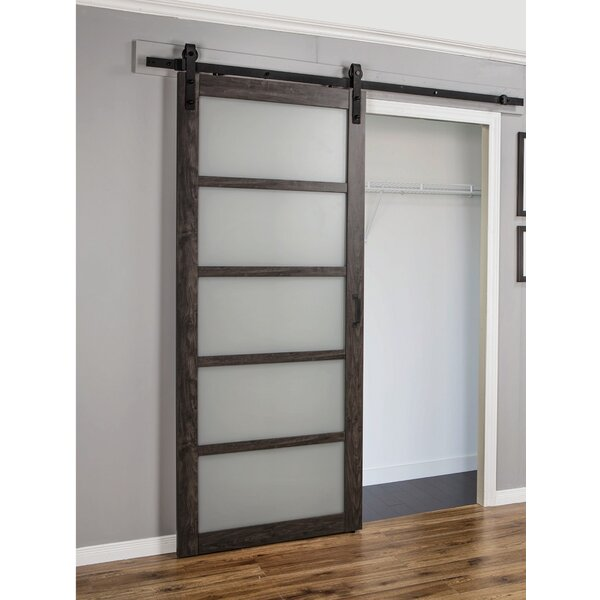 Continental Frosted Glass 1 Panel Ironage Laminate Interior Barn Door by Erias Home Designs