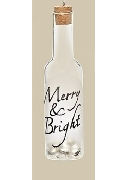 Glass Wine Bottle Inscribed Merry and Bright with Jingle Bells Christmas Ornament by Northlight Seasonal