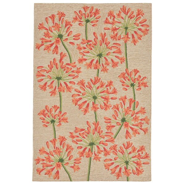 Dazey Lily Hand-Tufted Beige/Red Indoor/Outdoor Area Rug by August Grove