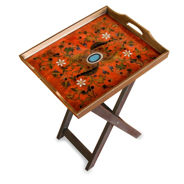The Asunta Pelaez Reverse Painted Glass Folding Tray Table by Novica
