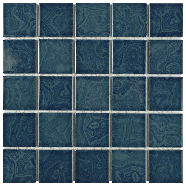 Utopia 2 x 2 Porcelain Mosaic Tile in Glazed Coral Blue by EliteTile