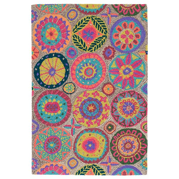 Merry Go Round Bright Hand Hooked Wool Pink/Orange Area Rug by Dash and Albert Rugs