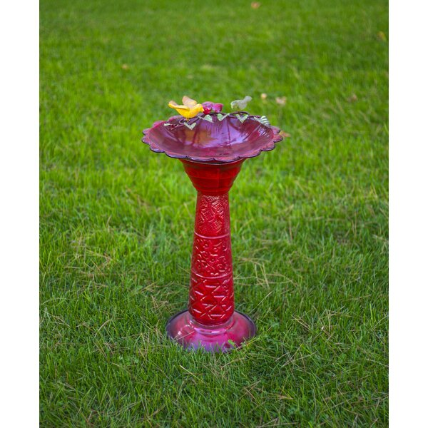 Red Metal Birdbath by Alpine