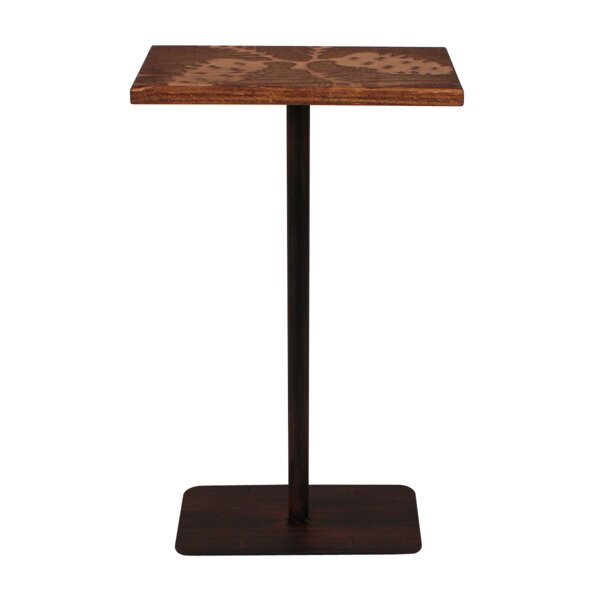 Hailey Wood Top Pine Cone Accent Pub Table by Millwood Pines Millwood Pines