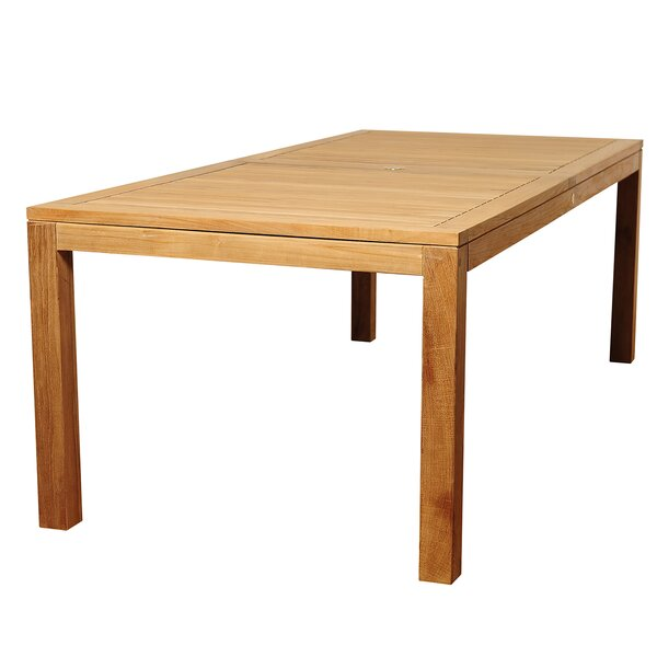 Bridgepointe Rectangle Teak Wood Dining Table by Rosecliff Heights