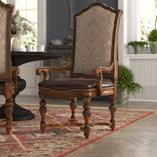 Evelyn Leather Upholstered King Louis Back Arm Chair in Dark Oak (Set of 2) by Astoria Grand Astoria Grand