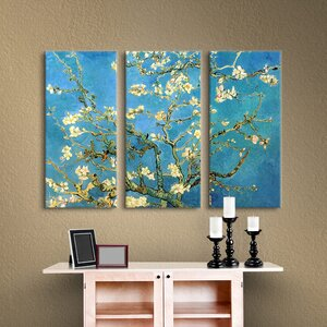 'Almond Blossom' by Vincent Van Gogh 3 Piece Painting Print on Wrapped Canvas Set in Blue and Gold by Bloomsbury Market