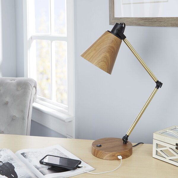Amin Metal 17 Desk Lamp with USB Port by Ivy Bronx