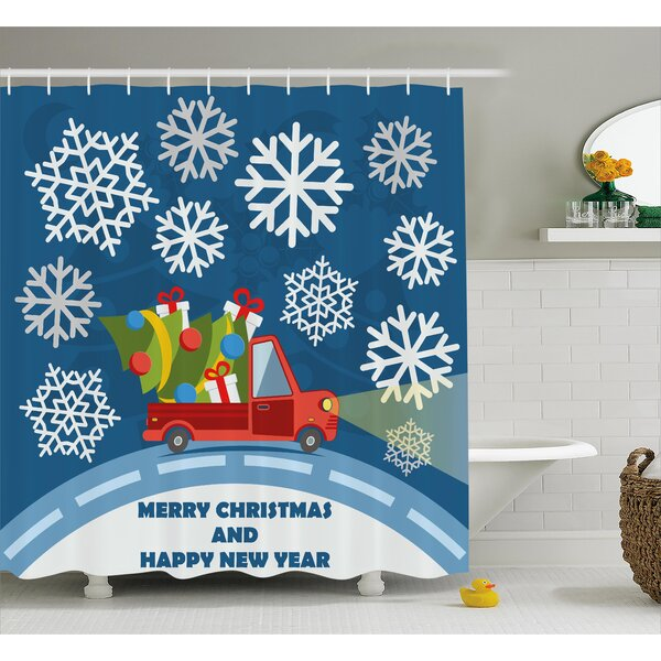 Christmas Truck with Big Boxes Tree Shower Curtain by The Holiday Aisle