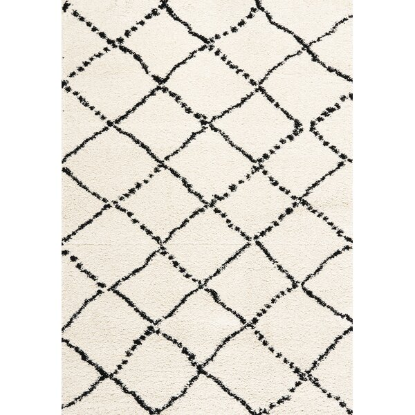 Jannie Diamonds Soft Touch Black/Cream Area Rug by Darby Home Co