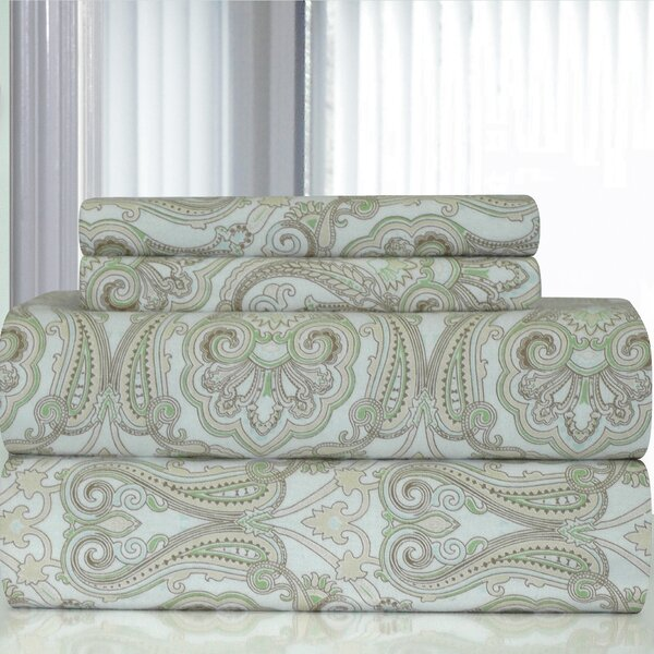 Heavy Weight Paisley Printed Flannel Sheet Set by Pointehaven