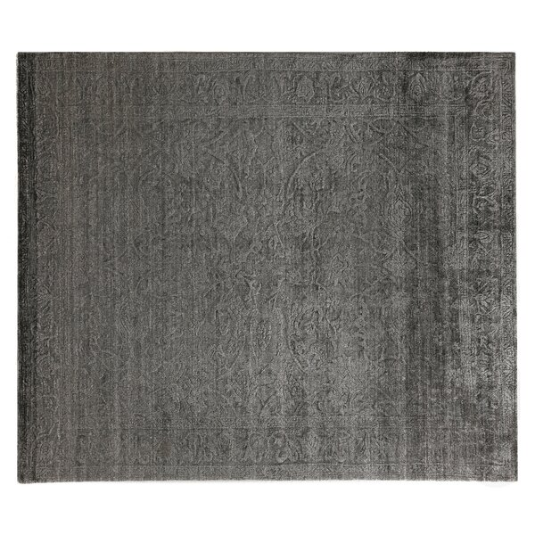 Iris Hand Knotted Silk Light Charcoal Area Rug by Exquisite Rugs