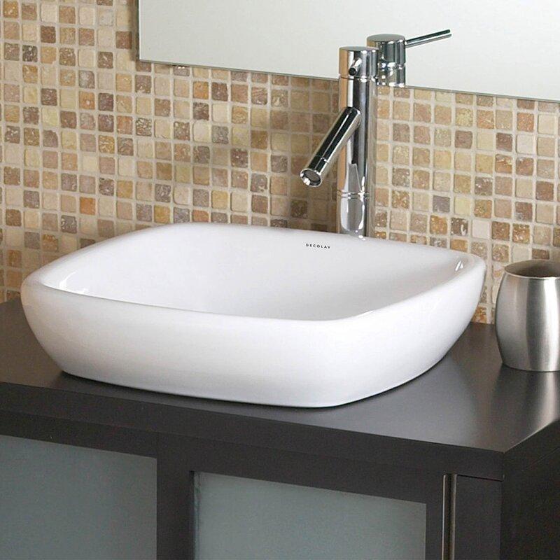 square bathroom sinks. Classically Redefined Ceramic Square Vessel Bathroom Sink DECOLAV