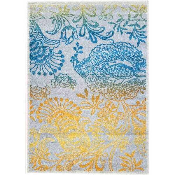 Merissa Transitional Peacock Gray/Yellow Area Rug by Ebern Designs