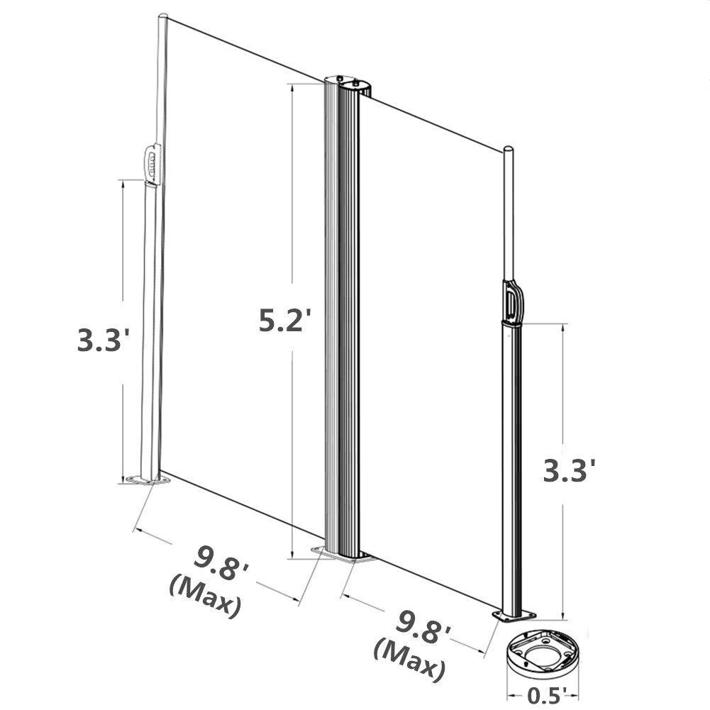 62 4 X 236 4 Retractable Folding Screen Fence Privacy 2 Panel Room Divider