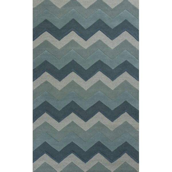 Courtney Ocean Chevron Area Rug by Ebern Designs