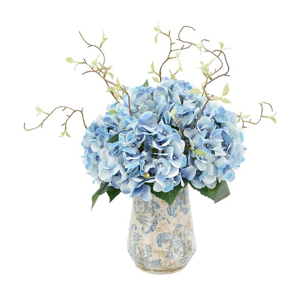 Hydrangea Floral Arrangements with Vines in Rustic Vase by Lark Manor