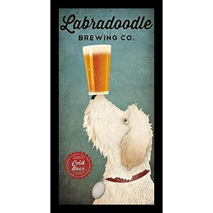 'White LabraDoodle Brewing Co' by Ryan Fowler Framed Graphic Art by Buy Art For Less