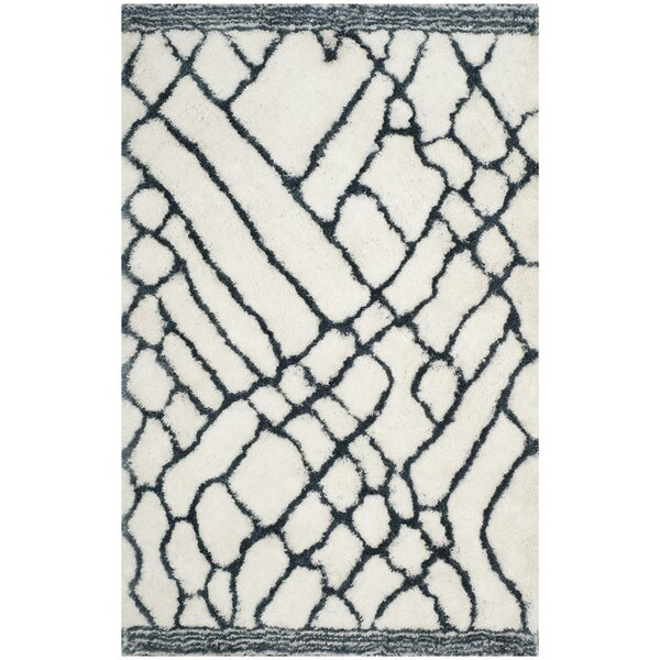 Briganti Hand-Tufted Ivory/Blue Area Rug by Mercury Row