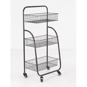 Delcie Modern 3-Tiered Iron Storage Bar Cart with Caster Wheels by Williston Forge