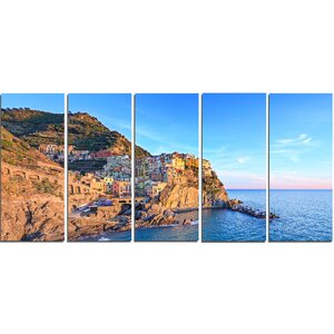 Manarola Village Cinque Terre Italy 5 Piece Photographic Print on Wrapped Canvas Set by Design Art