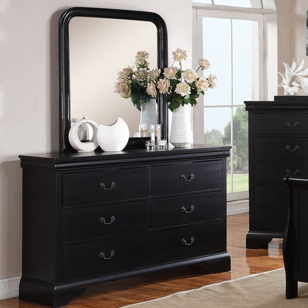 Venice 6 Drawer Double Dresser with Mirror by A&J Homes Studio