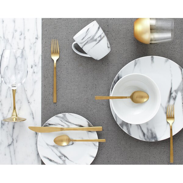 Best Couple Marble 16 Piece Dinnerware Set, Servic