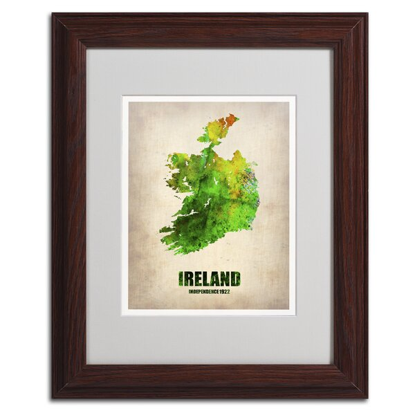 Ireland Watercolor Map by Naxart Framed Graphic Art by Trademark Fine Art