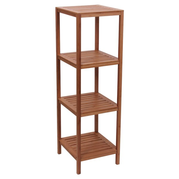 Bamboo Slatted Etagere Bookcase by Household Essentials