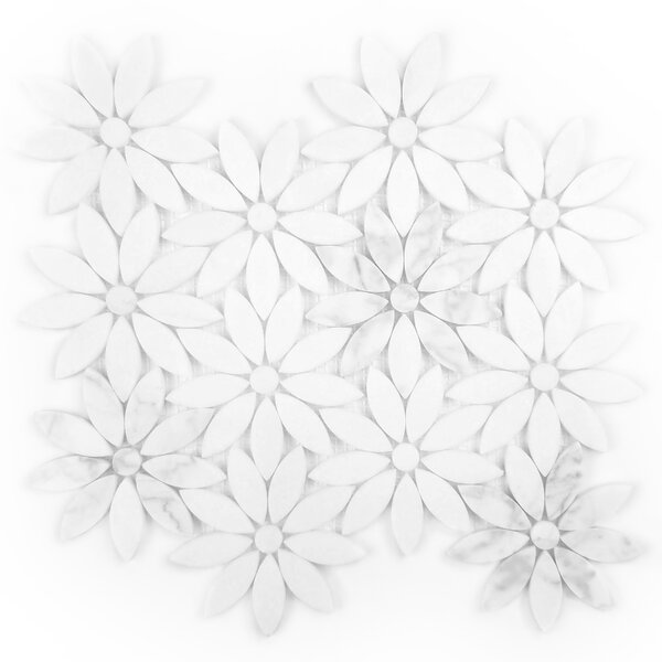 Tuscany Flower Random Sized Marble Mosaic Tile in White by Abolos