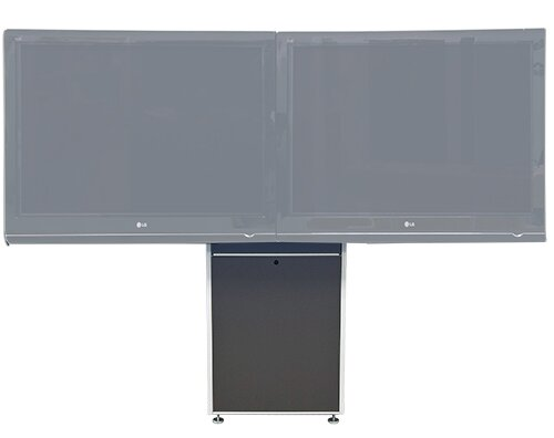 Dual Monitor Wall Mounted Electric Lift AV Cart by VFI