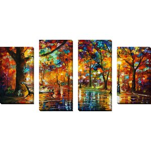 Colorful Night by Leonid Afremov Piece 4 Painting Print on Wrapped Canvas Set by Picture Perfect International