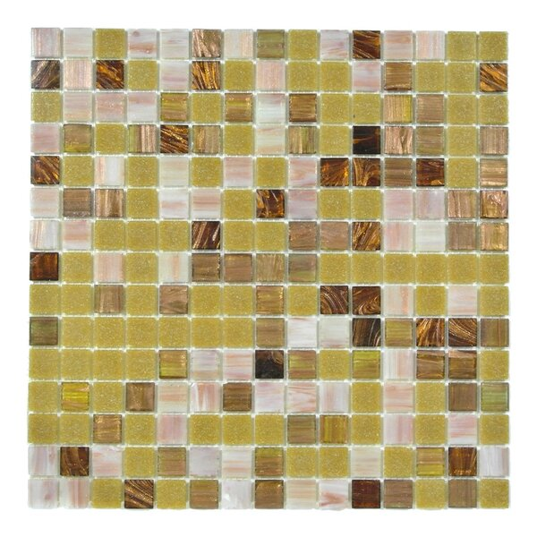 Bon Appetit 0.75 x 0.75 Glass Mosaic Tile in Gold/White/Brown Mix by Abolos