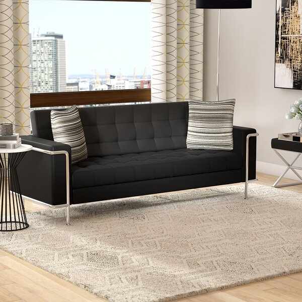 Myron Contemporary Leather Sofa By Wade Logan