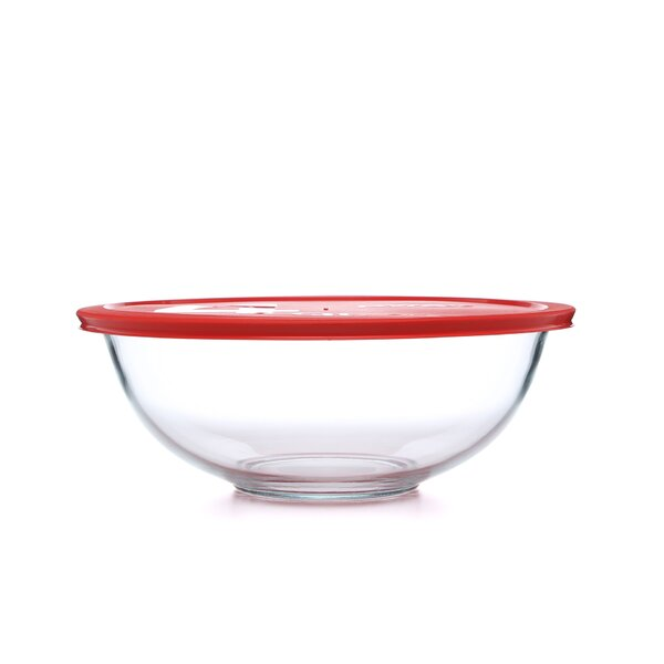 Smart Essentials 4 Qt Mixing Bowl with Red Plastic Cover by Pyrex