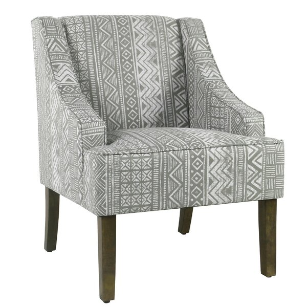 Barkley Geometric Pattern Fabric Upholstered Wooden Side Chair by Wrought Studio