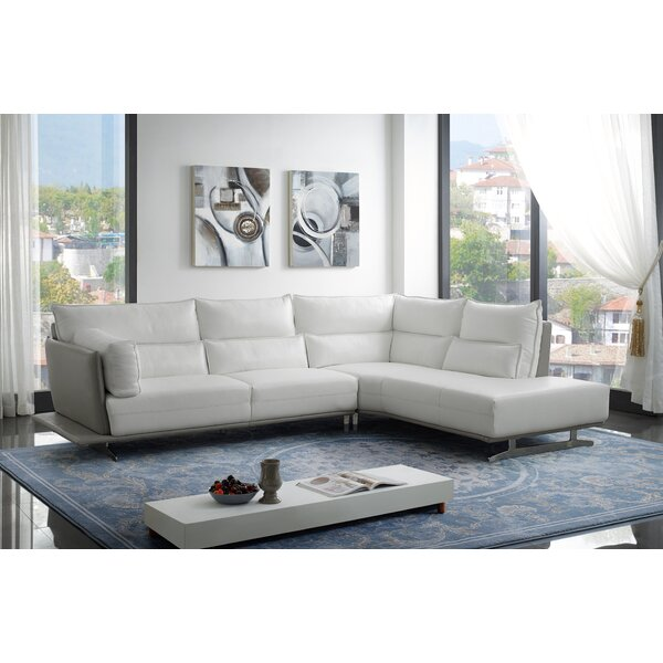 Cotswold Leather Sectional by Orren Ellis Orren Ellis