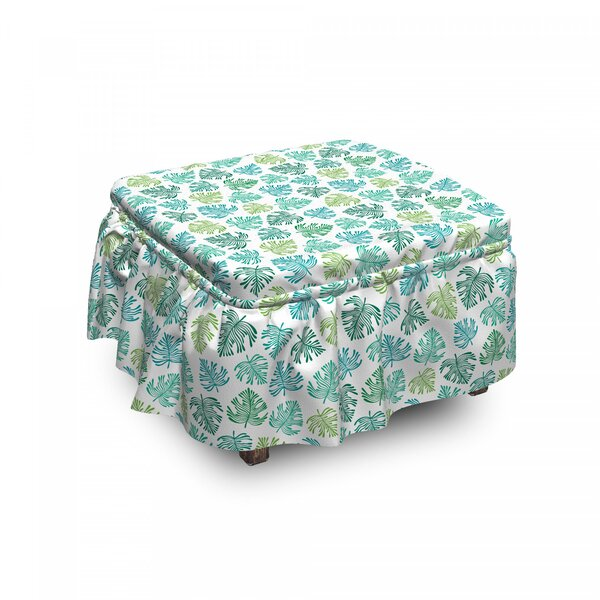 Exotic Tropic Leaves Ottoman Slipcover (Set Of 2) By East Urban Home